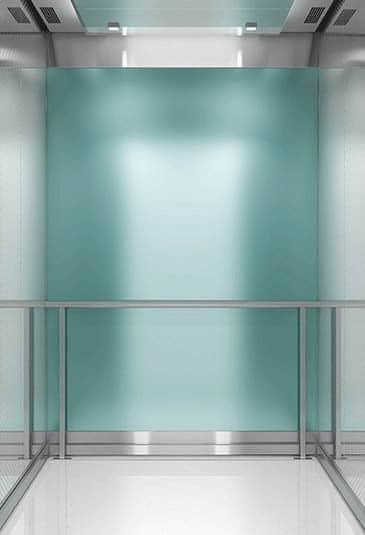 KONE S MiniSpace ™ elevator with solid color glass interior
